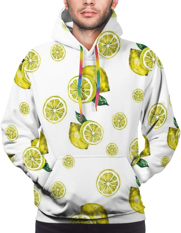 Men's Hoodies Sweatshirts,Lemon Figures with Slices and Leaves Summer Season Fresh Watercolor