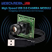 0.3MP Super Mini VGA USB Camera Module with 8mm Lens,Webcam USB with Cameras for Android Windows Linux,Free Driver UVC Web...