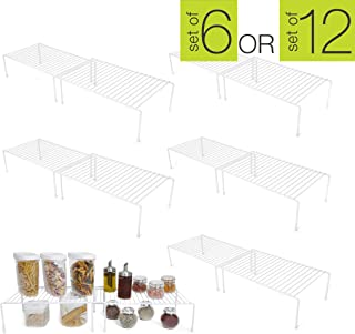 Smart Design Kitchen Storage Shelf Rack w/Plastic Feet - Steel Metal - Rust Resistant Finish - Cups, Dishes, Cabinet & Pantry Organization - Kitchen (10 x 32 Inch) (Large Expandable) [White] - Set 6