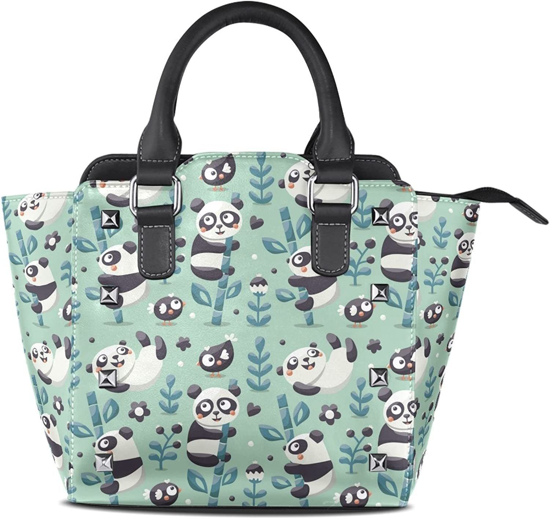 My Little Nest Women's Top Handle Satchel Handbag Cute Panda Bamboo Ladies PU Leather Shoulder Bag Crossbody Bag
