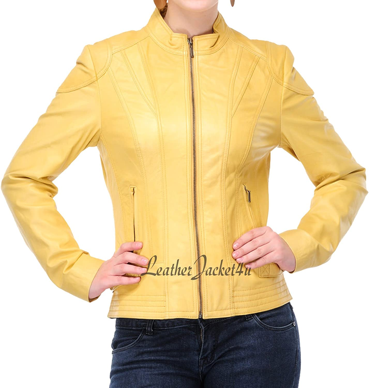 Women's Stylish Genuine Lambskin Leather Jacket 189