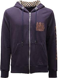 Aquascutum 2473AE Felpa Uomo Dark Blue Full Zip Cotton Sweatshirt Man