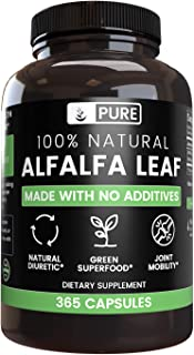 100% All-Natural Alfalfa Leaf |365 Capsules |46-Day Supply |No Magnesium or Rice Filler, Made in The US, Vegetarian, Gluten-Free, 1000 mg of Pure & Undiluted Alfalfa Leaf per Serving
