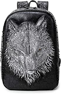 GYNSSJBB Fashionable 3D Animal Head School Bag, Bright Rivet Embossed Waterproof Computer Bag, Large Capacity Double-Layer Backpack for Men and Women, Which Can Hold 14-inch Computer