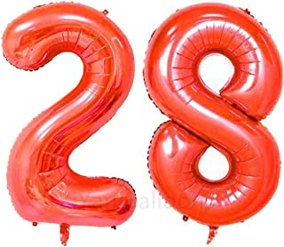 ZiYan 40inch Red Number 28 Balloon Party Festival Decorations Birthday Anniversary Jumbo foil Helium Balloons Party Supplies use Them as Props for Photos