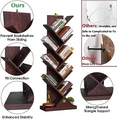 Tree Bookshelf, 8-Shelf Rustic Bookcase, Narrow Bookshelf for Small Space, Sturdy Anti-Fall Book Shelf Organizer for Home Off