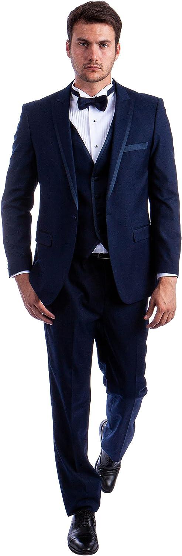 Mens Three Piece Satin Trim Peak Lapel Tuxedo