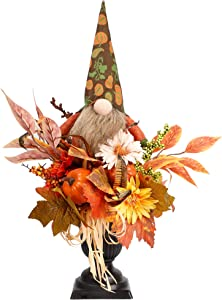 Prsildan Thanksgiving Tabletop Decorations 21 Inch Artificial Flowers Pumpkins with Gnome, Faux Plant Fall Autumn Harvest Day Table Centerpieces for Home Kitchen Office Decor