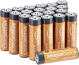 AmazonBasics 20 Pack AA High-Performance Alkaline Batteries, 10-Year Shelf Life, Easy to Open Value Pack