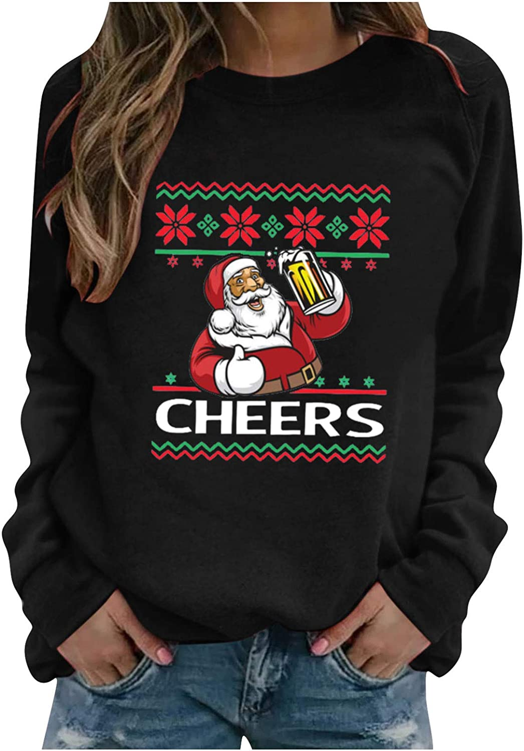 Christmas Sweatshirts for Women, Women's Casual Pullover Tops Long Sleeve Santa Graphic Sweaters Shirts Blouse Top Tee