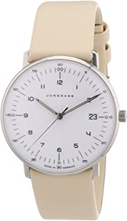 Junghans Uhren - MAX Bill 047/4252.00 - Reloj para Mujeres, Correa de Cuero Color Crema