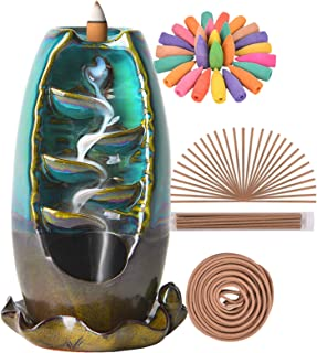 SOLEJAZZ Backflow Incense Burner Waterfall Incense Holder with 120 Incense Cones & 30 Incense Sticks for Home Office Yoga ...
