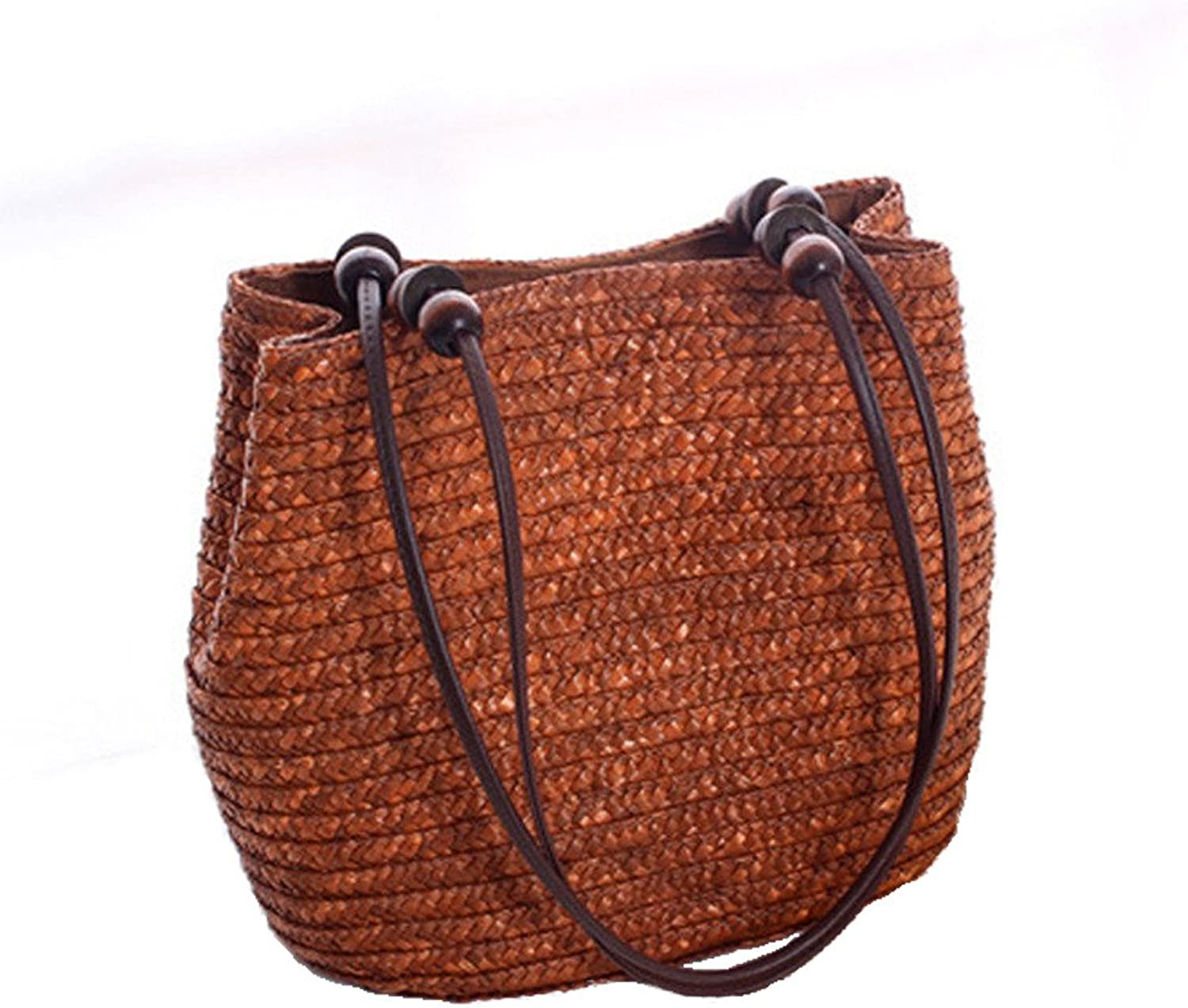 Brown Straw Tote with Wooden Beads