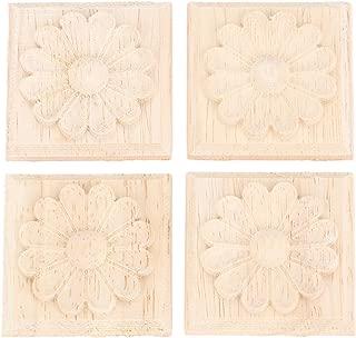 MUXSAM 4pcs Wood Carved Corner Onlay Applique Frame Furniture Craft Unpainted 10x10cm