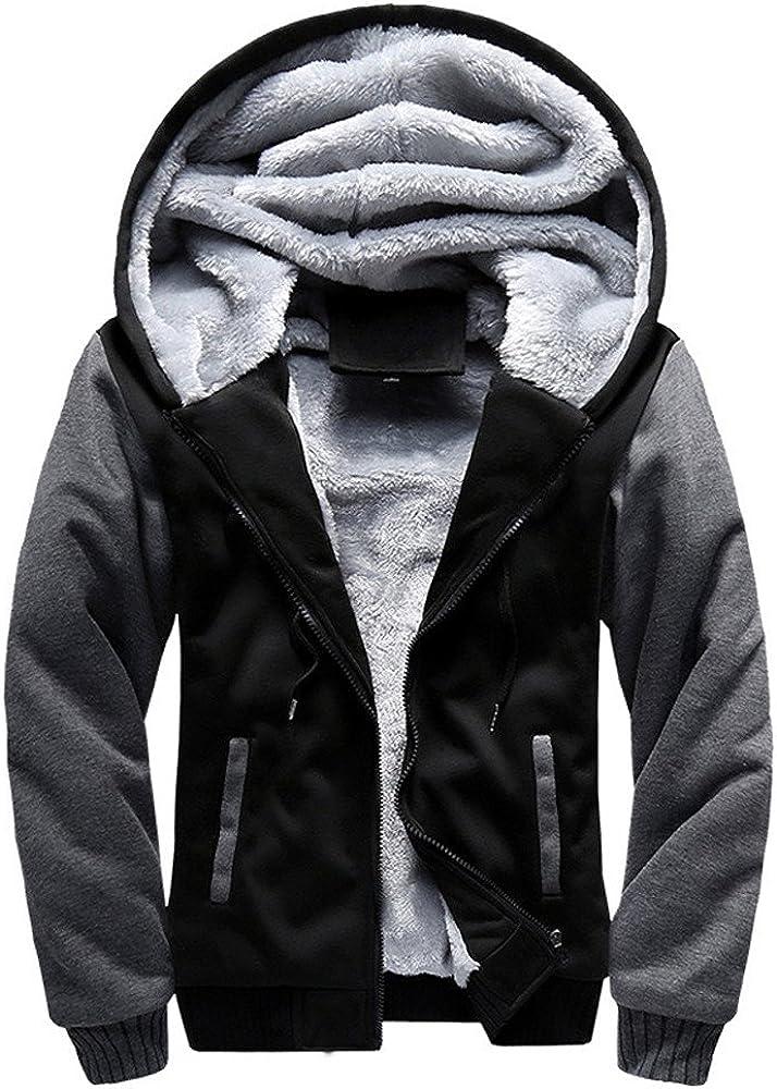 Mens Hoodies F_Gotal Men's Winter Thicken Fleece Sherpa Lined Zipper Hoodie Sweatshirt Jacket Outwear Coat Warm