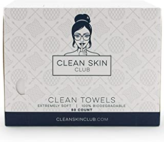 Clean Skin Club - Clean Towels XL | World's 1ST Biodegradable Face Towel | Disposable Makeup Removing Wipes | 100% Organic Viscose | 50 CT | Super Soft for Sensitive Skin | Dry Cleanser Towelettes