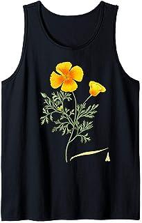 Californian Poppy Botanical Illustration Flower California Tank Top