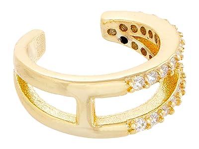 SHASHI 2 Row Pave Earrings Cuff (Gold) Earring