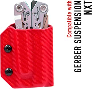 Kydex Multitool Sheath for Gerber SUSPENSION NXT - Made in USA - Multi Tool Sheath Holder Cover Belt Pocket Holster - Multi-tool not included (Carbon Fiber Red)