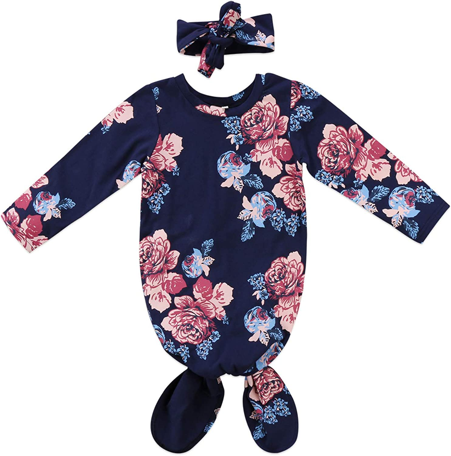 Baby Flower Sleeping Bags Newborn Infant Blanket Swaddle Wrap Gown with Hat Outfits 2Pcs