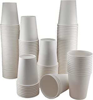 Paper Cups 8 oz - Bulk 200 Count - White Disposable Hot and Cold Drink Cups for Coffee, Tea, Cocoa and Beverages - Strong ...