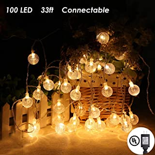 MOICO Globe String Lights, 33Ft 100 LED 8 Modes Plug in Twinkle Fairy Lights, UL Listed Waterproof Decorative Lights for Outdoor, Bedroom, Garden, Christmas, Wedding, Party, Connectable,(Warm White)