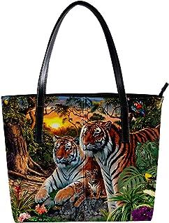 LORVIES - Borsa a tracolla da donna, in pelle PU, con motivo a tigre