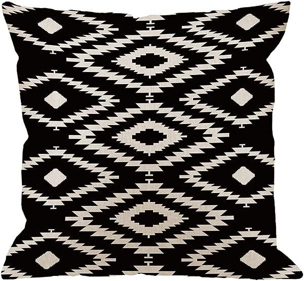 HGOD 设计扔枕头套黑色和白色棉亚麻广场靠垫标准枕套男性女性家居装饰沙发单人沙发卧室客厅法令》个法令》英寸