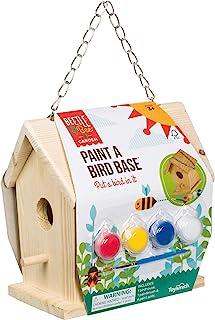 "Toysmith Beetle & Bee Paint A Bird Base - DIY Kid Art Craft Outdoor Birdhouse Kit, 5.25"" x 7"" x 6.5"", Fully Assembled to D..."