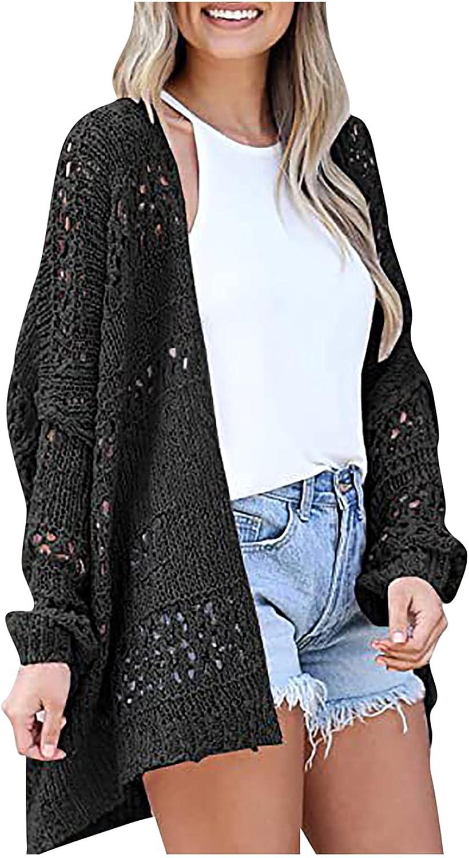 Women's Hollow Lightweight Cardigan Sweater V-Neck Long-Sleeve Knit Loose Oversized Elegant Comfor Tops Plus Size
