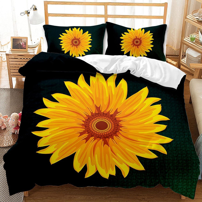 ZBCN 3D Sunflower 特価品コーナー☆ Duvet Cover 毎日続々入荷 Summer Yellow Floral