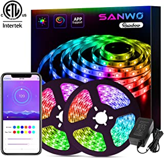 LED Strip Lights - 32.8ft Dream Color LED Light Strip App Controlled, 12V SMD 5050 Flexible RGB Waterproof LED Strip, Color Changing Tape Lights Kit with Adhesive for Home Kitchen