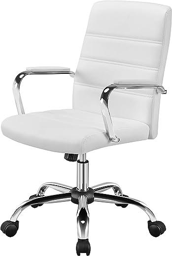 Yaheetech Bürostuhl ergonomischer Schreibtischstuhl, Drehstuhl mit Armlehnen Bürohocker auf Rollen Arbeitsstuhl mit Rückenlehne Chefsessel…