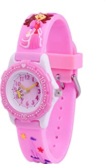 Wolfteeth Analog Grade School Toddler Kids Wrist Watch with Second Hand 3D Princess Strap White Dial Water Resistant Girl Wrist Watch 3060