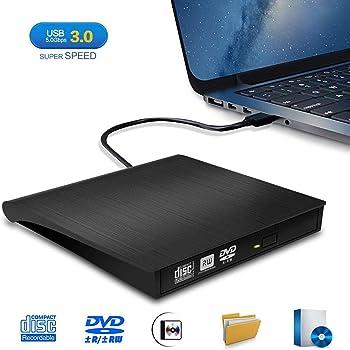 Lecteur CD/DVD Externe, iAmotus Graveur DVD Externe USB 3.0 Portable CD DVD /-RW ROM Player Très Mince Compatible Windows XP/7/8/10/Vista/Linux, Mac OS pour Ordinateurs de Bureau