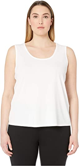 Plus Size Stretch Silk Jersey Scoop Neck Tank Top