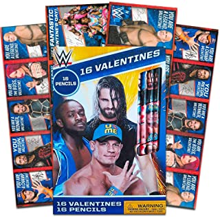 WWE Wrestling Valentines Card Bundle (16 Cards with 16 Pencils)