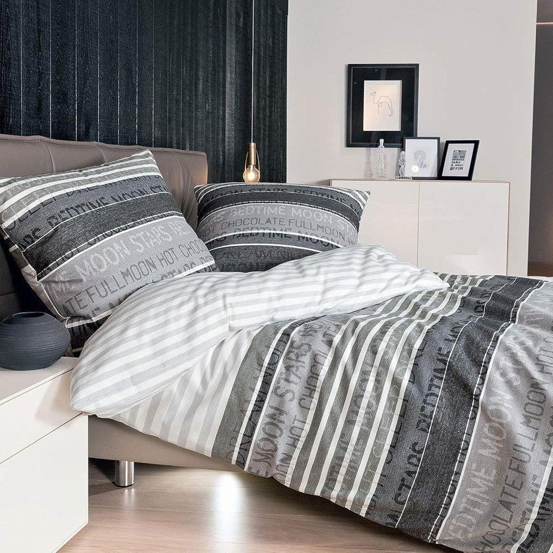 Janine Palermo Parure de lit en satin de coton mako gris, Coton, gris, 200 cm x 200 cm