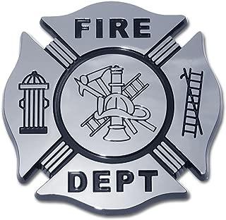 Fire Department Firefighter Maltese Cross Premium Black & Chrome Plated Metal Car Truck Motorcycle Emblem