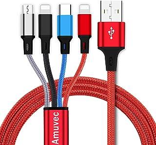 Amuvec Multiladdarkabel, 4-i-1 USB-laddningskabel snabbladdning 2 iP Micro USB typ C för telefon 12 Pro 8 6 5 Samsung Gala...