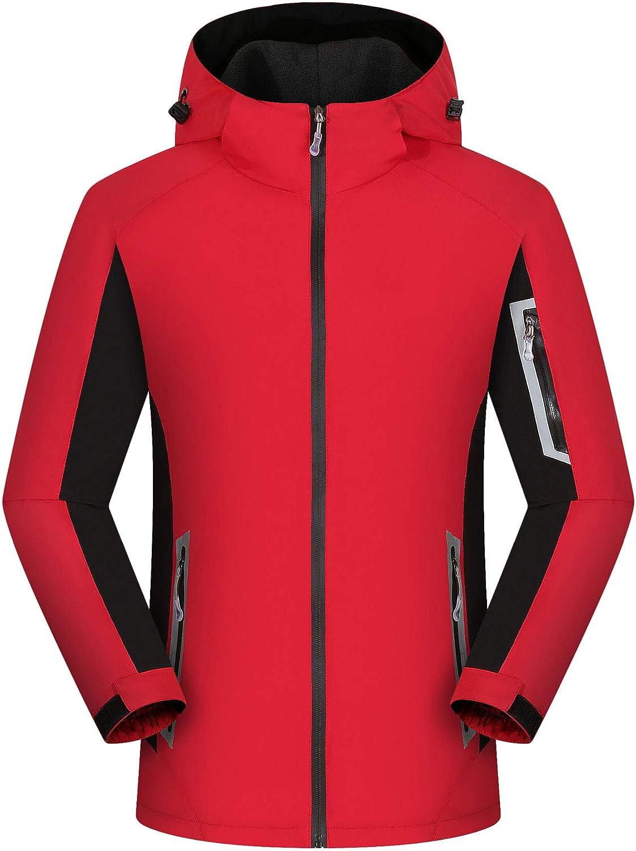 Huanxin Men's Outdoor Fleece Jackets Waterproof Softshell Jackets, Mens Women Casual Travel Jacket Breathable Working Coats with Multi Pockets,F,XXXL