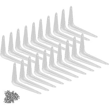 Pack of 4 Wideskall Metal 5 x 6 inch Wall Corner Angle Shelving Shelf Brackets White