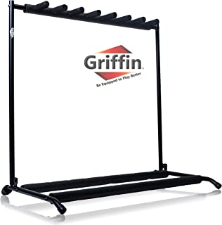 Seven Guitar Rack Stand by Griffin | Holder for 7 Guitars & Folds Up | For Electric, Acoustic & Classical Guitar, Bass & Ukulele | Ideal For Music Bands, Recording Studios, Schools, Stage Performers
