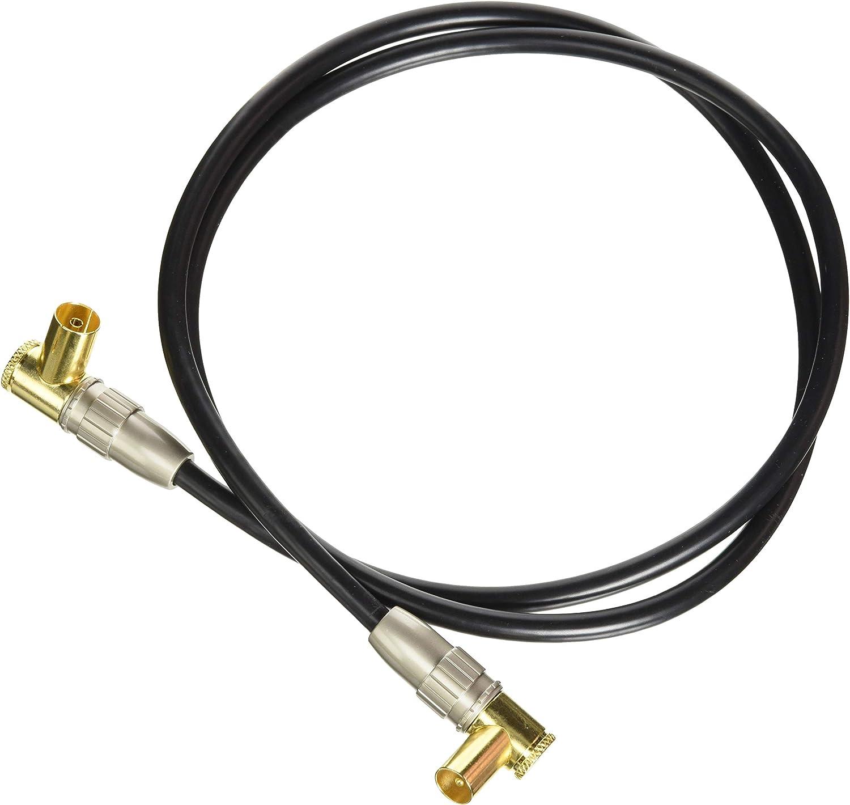 aricona cable de antena HDTV con enchufe en ángulo de 90° - cable coaxial de audio con adaptador para receptor y TV / 1 metro