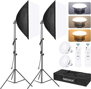 Neewer Kit Iluminación Caja de Luz, 2 Pack, Caja Suave de 23 x 23 Pulgadas / 60 x 60cm, Sistema de Iluminación Continua pa...