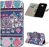 F�r Samsung Galaxy J4 Plus H�lle Leder Tasche PU Leder H�lle Gemalt Muster Flip Brieftasche Kartenhalter Magnetschnalle St�nder Sto�fest Kratzfest Sto�stange Handyh�lle Elefant-Totem