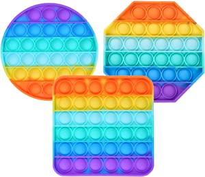 Push Pop Bubble Fidget Sensory Toy Chuckle and Roar Pop it Game for Autism Special Needs Stress Reliever, Squeeze Silicone bubbles for kids & Adults Pop it Fidget Toy pack (3PCS)Rainbow Colors