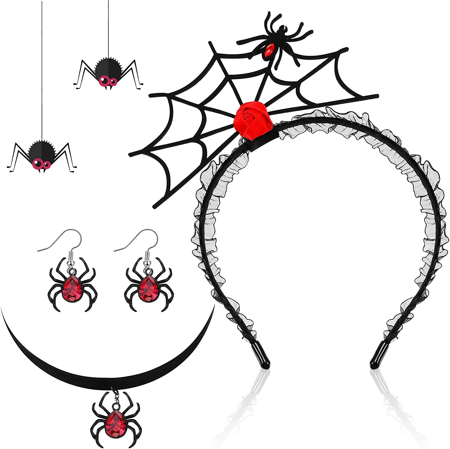 3 Pieces Halloween Spider Earrings Set 2021 new Necklace Headband Attention brand