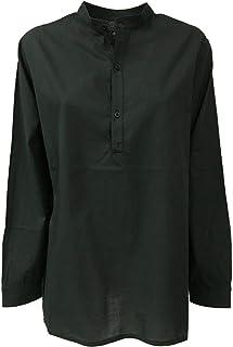 LABO.ART Camicia Donna Nero Collo Coreano MOD ONU Neve 100% Cotone Made in Italy