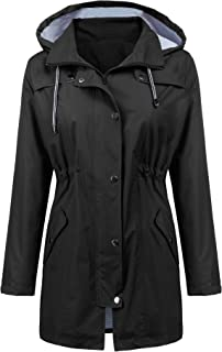 LOMON Raincoat Women Waterproof Long Hooded Trench Coats...